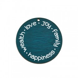 """Wooden Lucky Pendant Round """"love joy family happiness"""" 49mm"""