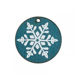 Wooden Lucky Pendant Round Snowflake 30mm