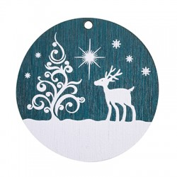 Wooden Lucky Pendant Round Christmas Tree & Deer 50mm