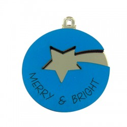 """Wooden and Plexi Acrylic Pendant with Star """"MERRY/BRIGHT"""" 60mm"""