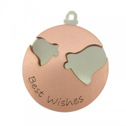 """Wooden and Plexi Acrylic Pendant with Bells """"Best Wishes"""" 70mm"""