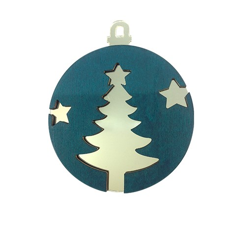 Wooden and Plexi Acrylic Pendant Christmas Tree with Stars 80mm