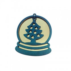 Wooden and Plexi Acrylic Pendant with Christmas Tree 74x64mm