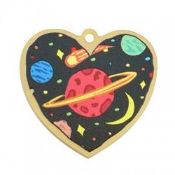 Πλέξι Ακρυλικό Μοτίφ Καρδιά Διάστημα 38x35mm