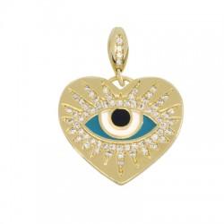 Brass Charm Heart Evil Eye w/ Enamel & Zircon 21x19mm