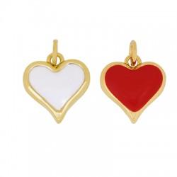 Brass Charm Heart w/ Enamel 13mm