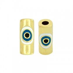 Brass Tube w/ Evil Eye & Enamel 10x5mm (Ø2mm)