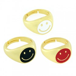 Brass Ring Round Smile Face w/ Enamel 21x14mm
