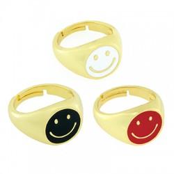 Μεταλλικό Δαχτυλίδι Χαμογελαστό Πρόσωπο με Σμάλτο 21x14mm