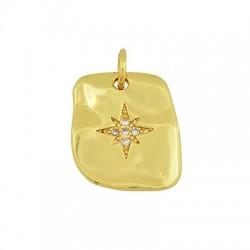 Brass Charm Tag Star w/ Zircon 13x15mm