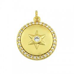 Brass Charm Round Star w/ Zircon 15mm