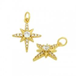 Brass Charm Star w/ Zircon 12x15mm