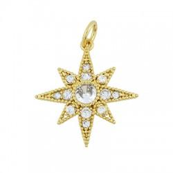 Brass Charm Star w/ Zircon 19x20mm