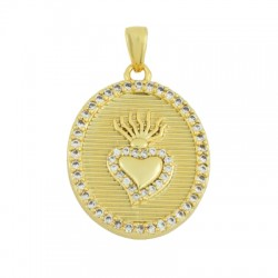 Brass Charm Oval Heart w/ Zircon 18x29mm