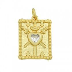 Brass Charm Tag Heart w/ Zircon 15x20mm