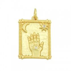 Brass Charm Tag Hand w/ Zircon 15x20mm
