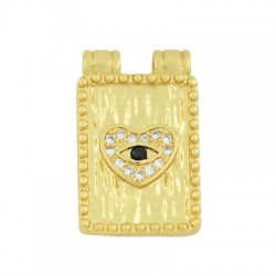Brass Charm Tag Heart w/ Evil Eye & Zircon 13x18mm