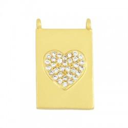 Brass Charm Tag Heart w/ Zircon 13x18mm