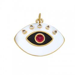 Brass Evil Eye w/ Enamel & Zircon 31x22mm