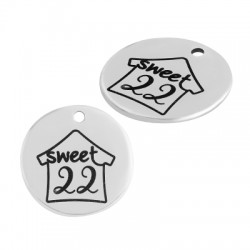 "Brass Lucky Charm Round ""sweet 22"" 20mm"