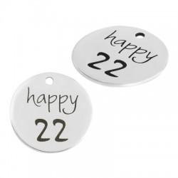 "Brass Lucky Charm Round ""happy 22"" 20mm"