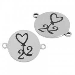 """Stainless Steel 304 Lucky Connector Round Heart """"22"""" 16mm"""
