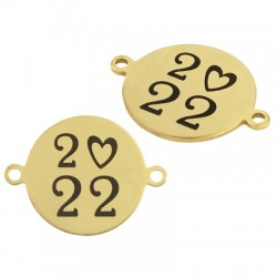 """Stainless Steel 304 Lucky Connector Round Heart """"2022"""" 16mm"""