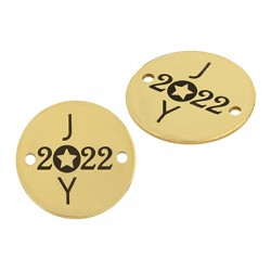 """Stainless Steel 304 Lucky Connector Round """"2022 JOY"""" 20mm"""