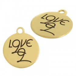 """Stainless Steel 304 Lucky Charm Round """"LOVE 22"""" 20mm"""