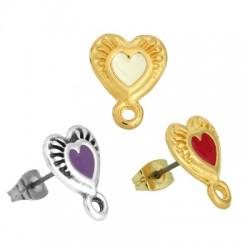 Zamak Earring Heart w/ Enamel Loop & Safety Back 11mm