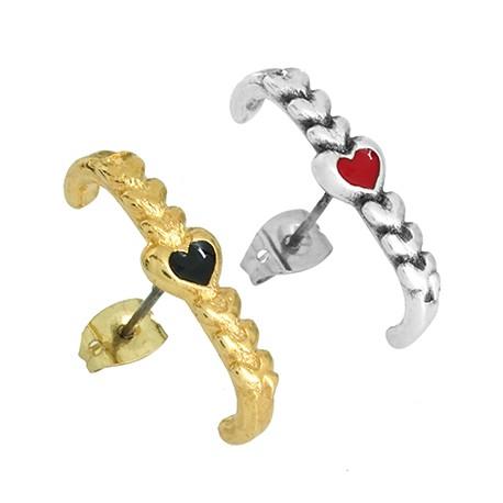Zamak Earring Heart w/ Enamel Loop & Safety Back 5x22mm