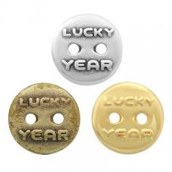 "Zamak Button Round ""LUCKY YEAR"" 16mm"