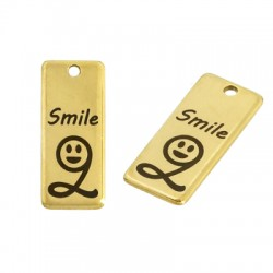 """Stainless Steel 304 Lucky Charm Tag """"2 Smile"""" 9x21mm"""