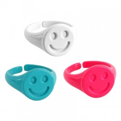 Brass Painted Casting Ring Smile Face 20x13mm