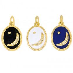 Brass Charm Oval Moon w/ Enamel & Zircon 11x14mm