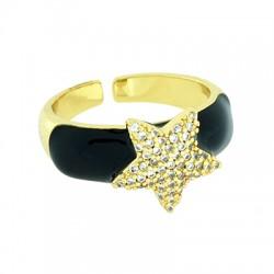 Μεταλλικό Μπρούτζινο Δαχτυλίδι Αστέρι με Ζιργκόν 21x12mm