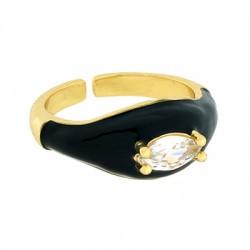 Brass Ring w/ Zircon & Enamel 22x9mm