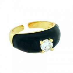 Brass Ring w/ Zircon & Enamel 22x10mm