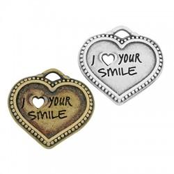 "Zamak Charm Heart ""Love your smile"" 22x19mm"