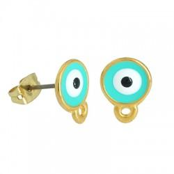Μεταλλικό Ζάμακ Σκουλαρίκι Μάτι με Σμάλτο & Κούμπωμα 8mm