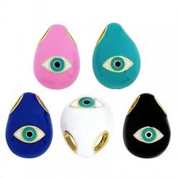 Brass Oval Evil Eye w/ Enamel 17x12mm