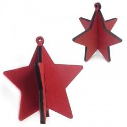 Wooden Pendant Star 3D 73mm