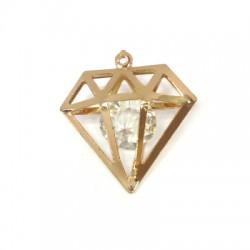 Steel Pendant Diamond with Crystal Bead 30x28mm