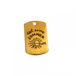 """Brass Tag Engraved """"Summer"""" 15x25mm"""