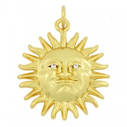 Brass Charm Sun w/ Zircon 20mm