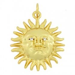 Μεταλλικό Μπρούτζινο Μοτίφ Ήλιος με Ζιργκόν 20mm