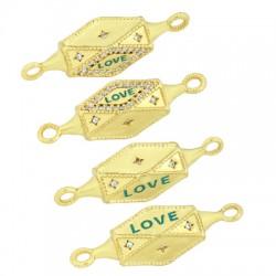 "Brass Connector Hexagon ""LOVE"" w/ Zircon 7x29mm"