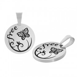 Stainless Steel 304 Charm Round Free Butterfly 15mm (Ø1.2mm)