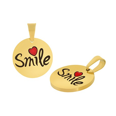 "Stainless Steel 304 Round ""Smile"" w/ Enamel 15mm (Ø1.2mm)"