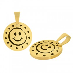 Stainless Steel 304 Charm Round Smile Face 15mm (Ø1.2mm)